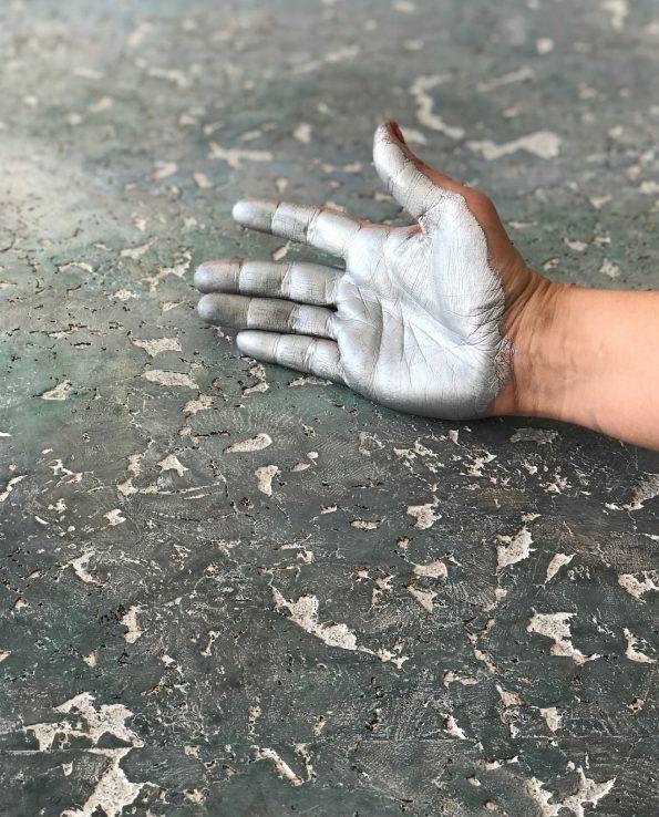 Bespoke hand painted cork worktops